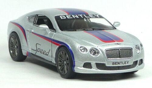 NUOVO 2012 Bentley Continental GT Speed RALLY MODELLO DA COLLEZIONE ARGENTO 1:38 Kinsmart