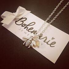 18 Inch bumble bee charm necklace gemstone bijoux jewellery boho gypsy jade