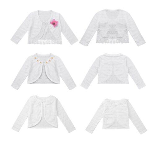 Kids Girls Long Sleeve Bolero Shrug Cardigan Top Lace Flower Dress Top Jacket