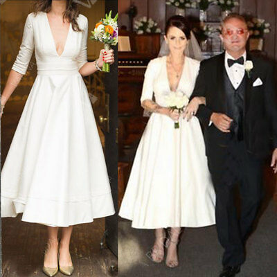 Simple Style Satin Wedding Dresses Garden Bridal Gown Tea Length V Neck Custom Ebay