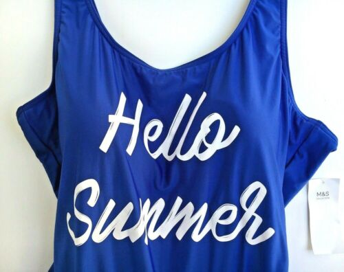 SWIMSUIT Swimming Costume M/&S 22 Blue Hello Summer SLIMMING TUMMY CONTROL BNWT