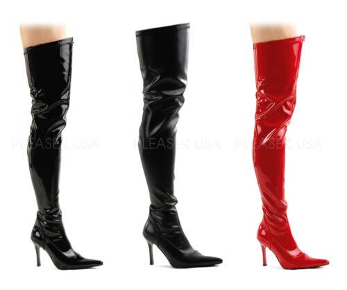 """BLACK or RED 3.75/"""" Heel THIGH HIGH BOOTS Side Zip CROSSDRESSER//DRAG QUEEN// 8-12"""
