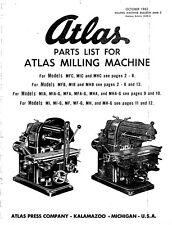 1962 Atlas Part List For  Milling Machine MMB-5  Instructions