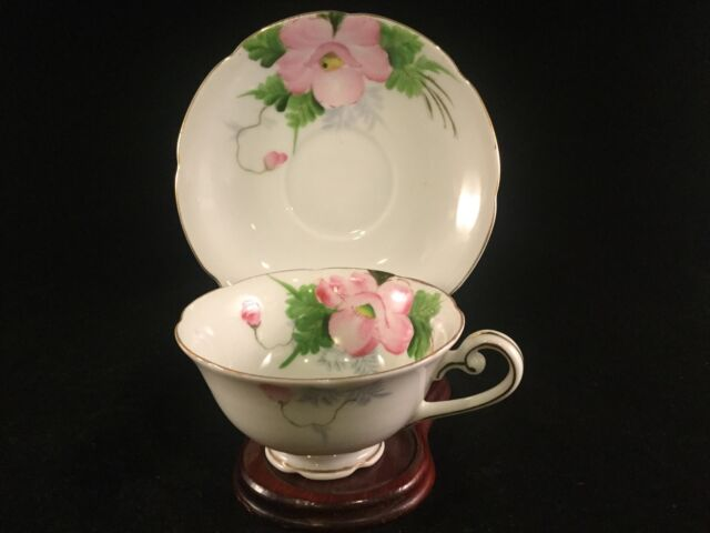 Vintage Merit Tea Cup Saucer  White With Flowers Made In Japan