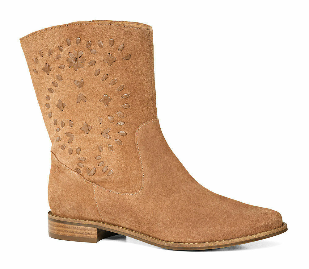 $248 NEW Jack Rogers KAITLIN Suede Boots Oak Brown Stitches Shoes 6 9.5
