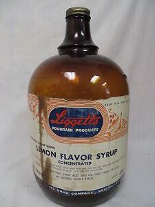 1950S-AMBER-GALLON-LIGGETTS-LEMON-SODA-FOUNTAIN-SYRUP-JUG-BOTTLE-REXALL-DRUG