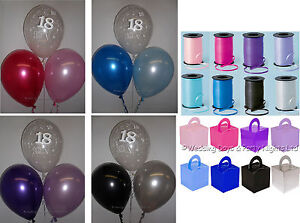 18th Birthday Party Helium Balloons Ribbon Weights 10 Table