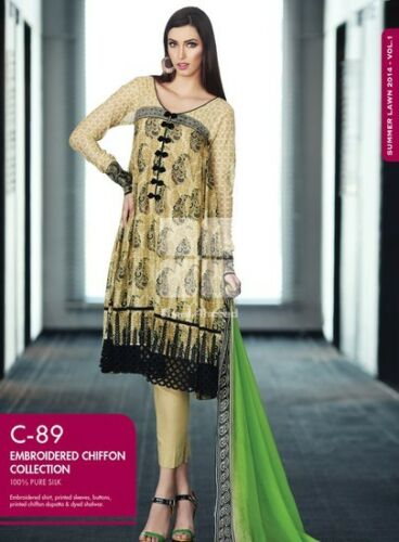 GUL AHMED SUMMER 2014 EMBROIDERED CHIFFON LAWN C89 CLEARANCE
