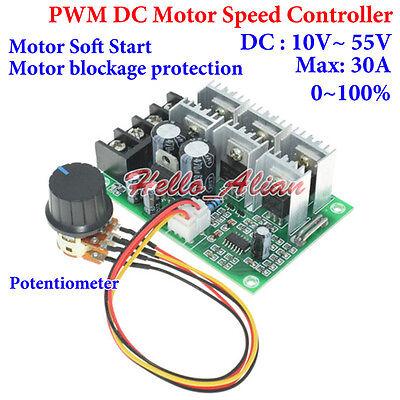 DC10V-55V 12 V 24 V 48 V 60 A PWM DC moteur régulateur de vitesse CW CCW réversible Switch