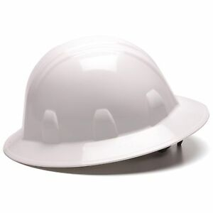 Pyramex Hard Hat Full Brim White with 6 Point Ratchet Suspension