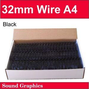 """32mm, 31.8mm or 1+1/4"""" TWIN LOOP BINDING WIRE 23 Loops Box of 25 -Black / Silver"""