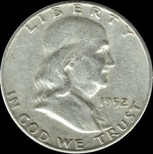 A-1952-P-Franklin-Half-Dollar-90-SILVER-US-Mint-034-Average-Circulation-034