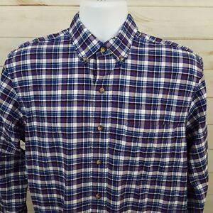 IZOD-Blue-Multi-Color-Tattersall-Check-Plaid-Men-039-s-L-S-Button-Shirt-Sz-Medium-M