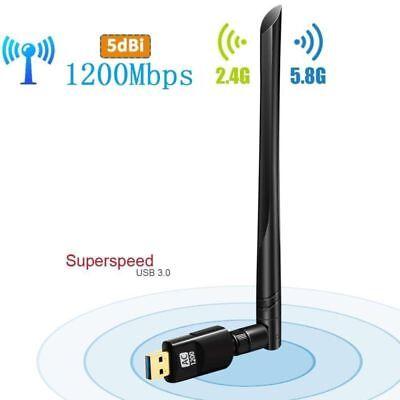 Dual Band 2.4//5Ghz 1200Mbps Wireless USB WiFi Network Adapter w//Antenna 802.11AC