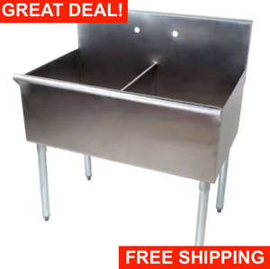 36-034-2-Compartment-18-034-x-21-034-x14-Stainless-Steel-Commercial-Utility-Prep-Two-Sink