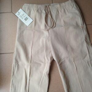 Breakaway-Crinkle-Cotton-track-pants-elastic-waist-style-671-Beige