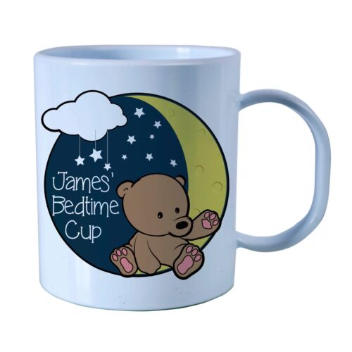 Plastic BPA Free Bear /& Moon Design Children/'s Personalised Bedtime Milk Cup