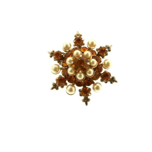 Vintage Crystal Rhinestone Pearl Star Brooch Pin … - image 1