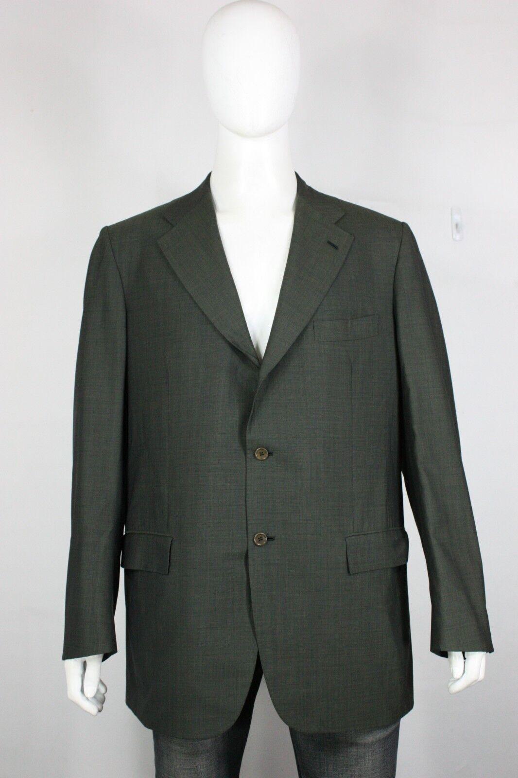 Kiton Napoli super 150s wool blazer IT 56 US 46 Diamante blue 3 button green