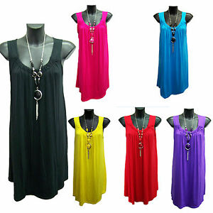New-Woman-039-s-Sleeveless-Summer-Tunic-Top-With-Necklace-Sizes-12-14-16-18-20-22