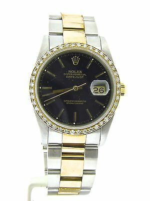 Mens Rolex Datejust 2tone 18k Yellow Gold/Stainless Steel Watch Black w/Diamonds
