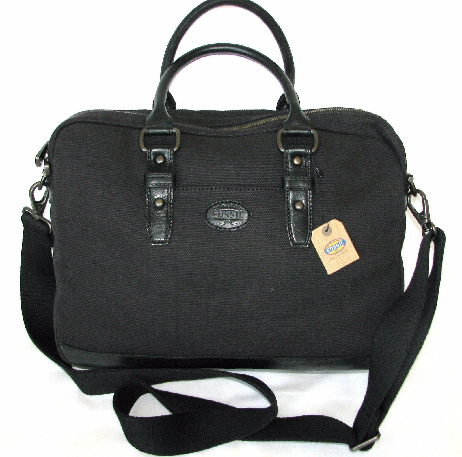 Fossil Men s Black Dillon Canvas Simple Work Bag Briefcase Messenger ... 9122f37b1a56