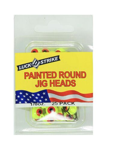 Fishing Luck Strike Painted Round Jig Heads 25qty  Bass Lures Baits Crapp