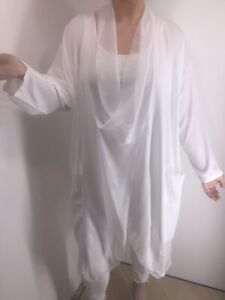 White-Silk-Tunic-Top-Cross-Over-Softest-Feel-Cool-Long-Pockets-Fits-16-26-NEW