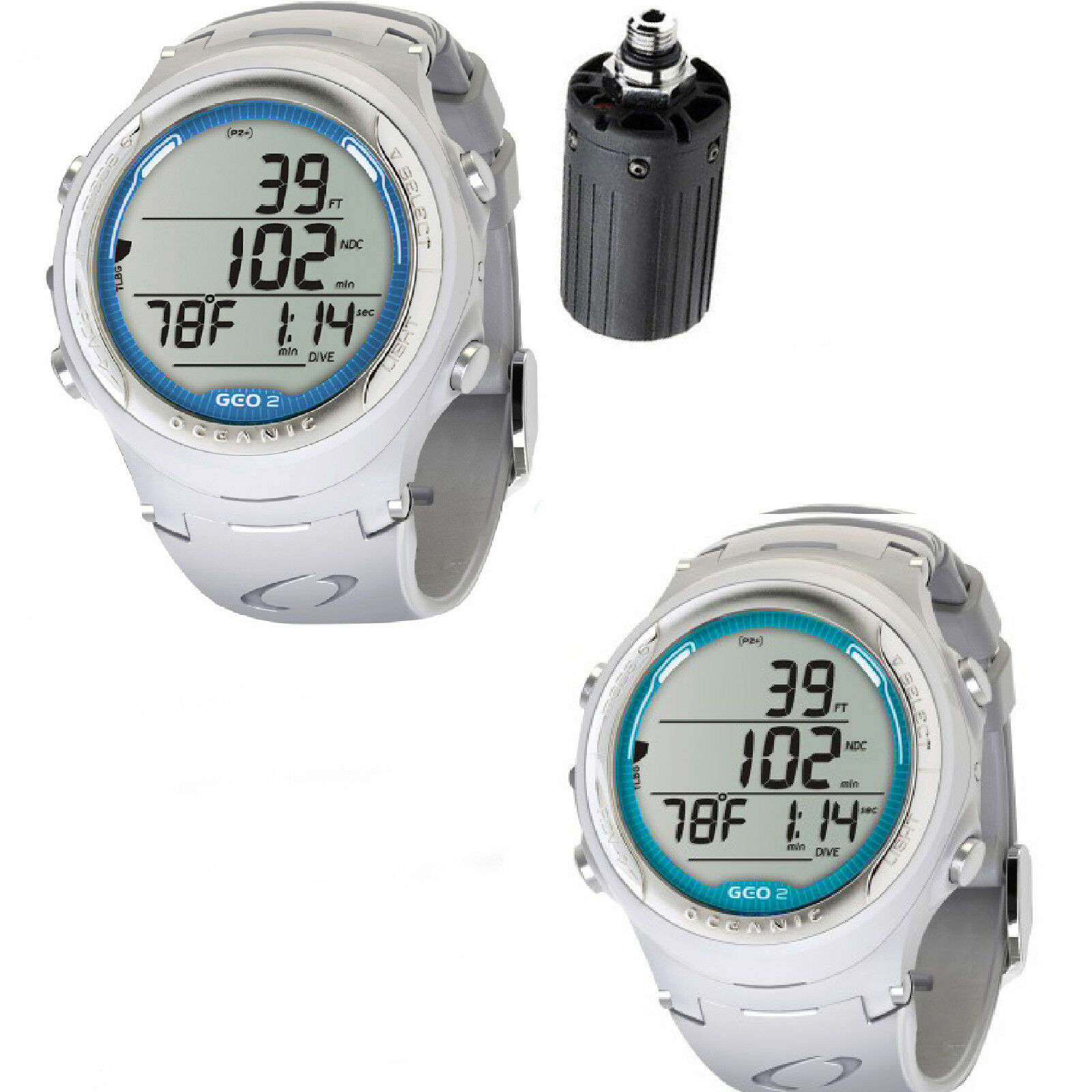Lo3 Oceanic dive computer  one piece OCi + TRANSMITTER   one piece GEO 2.0 WHITE