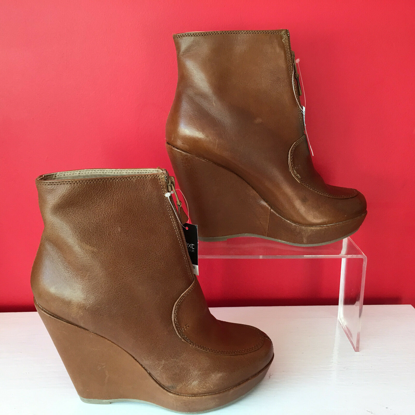 BNWT Next Camel Tan Leather Wedge Heel Ankle Stiefel Front Zip schuhe EU39 UK 6