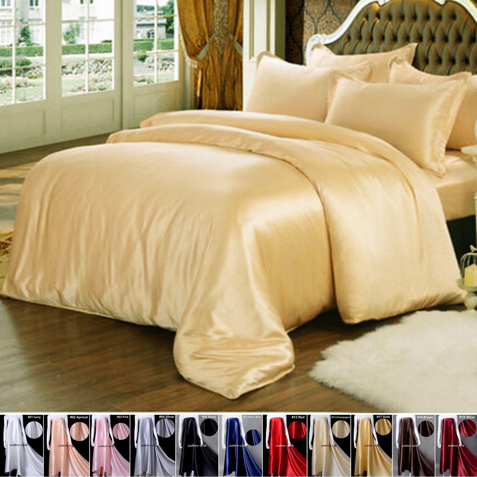 4Pc Black Silks Duvet Cover Bedding Sheet Set Queen King Size Pillow Cases Sets