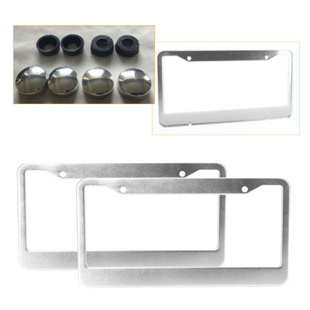 2PCs Black Metal License Plates Frame Tag Cover Screw Caps Stainless Steel