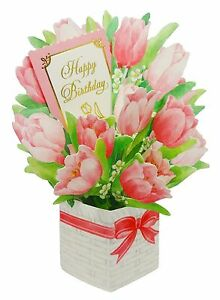 Image Is Loading Happy Birthday Flower Bouquet Tulip Pop Up Greeting