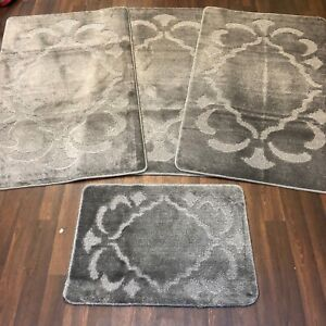 Details About Romany Gypsy Washable Full Sets Of Mats Rugs 75x125cm Size Non Slip Anth Grey