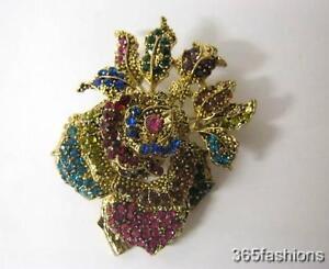 tendencia-Flor-Rosa-Cristal-Diamante-Imitacion-Broche-Oro-Multicolor