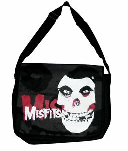 MISFITS-SKULL-FACE-LOGO-GLOW-IN-THE-DARK-BLACK-CANVAS-MESSENGER-BAG-NEW-OFFICIAL
