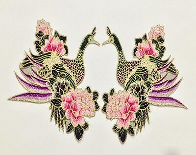bird flowers love Embroidered Patch iron/sew on Cloth badge Applique wedding