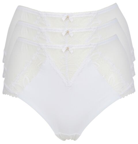 Ex Store 3 Pack Sheer Mesh and Embroidered Lace Full Briefs White