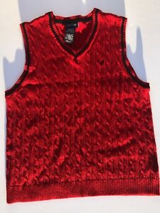 Nautica-Boys-Cable-Knit-Sweater-Vest-Red-W-Blue-Trim-Size-M-6-7