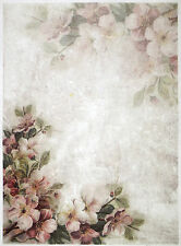 Rice paper -pink blossoms and flowers- for Decoupage Scrapbooking Sheets Craft