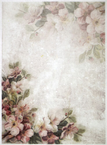 pink blossoms and flowers Rice paper for Decoupage Scrapbooking Sheet Craft