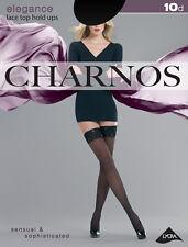 Charnos Elegance Lace Top Hold Ups Black Large 10 Denier