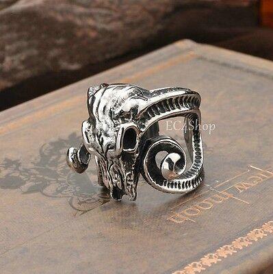 Men's Huge 3D Goat Ram Skull Long Horn Ring 316L Stainless Steel Punk Rock Biker