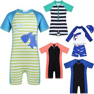 Enfants-Bebe-Garcon-Fille-Sun-Protection-Swimwear-Rash-Guard-Swim-costume-maillot-de-bain