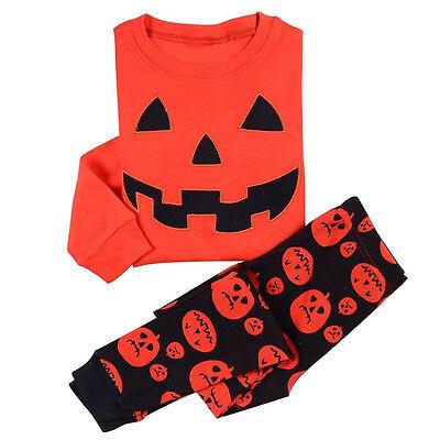 Kids Boys Girls Halloween Pumpkin Pajamas Tops + Pants Sleepwear Sets Size 1-7 Y