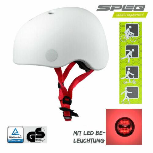 2x Speq LED Kinder Skatehelm Verstellbar 48-53cm Fahrradhelm Tüv Weiß