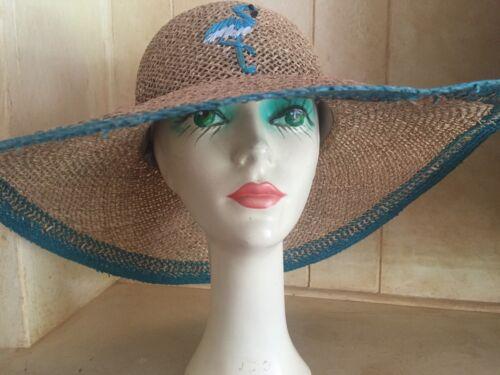 Wide-Brimmed Flamingo Straw Hat