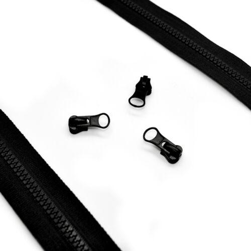 Plástico Grueso Cremallera no 5 cinta continua con cremallera ✄ Negro Cremallera Negro deslizadores ✄ HQ