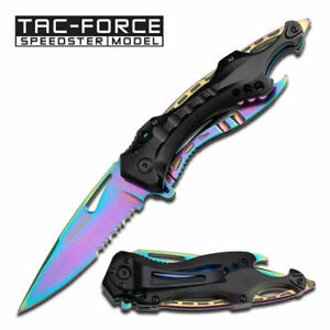 Tac-Force-Rainbow-Linerlock-A-O-SPRING-ASSISTED-TACTICAL-FOLDING-POCKET-KNIFE
