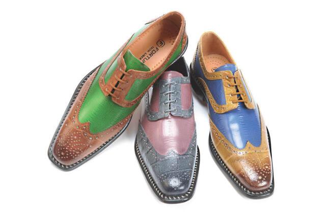 New Men's Liberty Dress Shoes Wing Tip Two Tone Croco/ELL Skin Print L-827